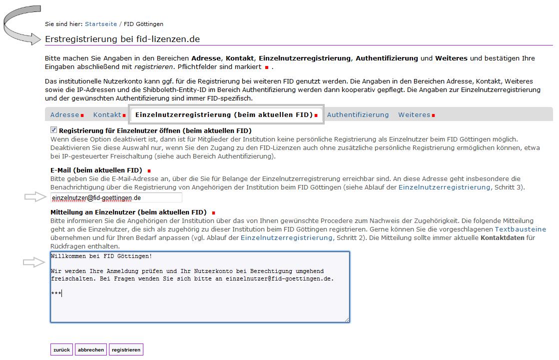 FID - Erstregistrierung Institution 2